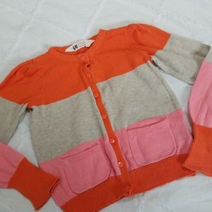 H&M Toddler Size 2-4Y Cardigan Orange Pink Stripe